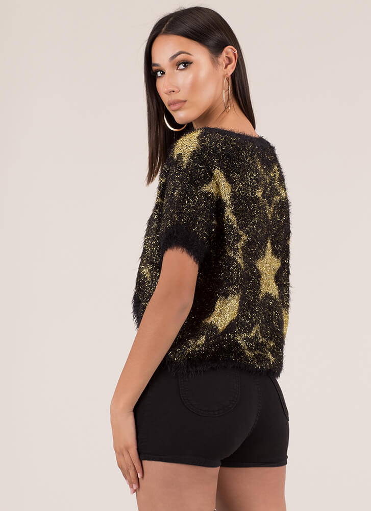 Star-Spangled Sweater Fuzzy Knit Top BLACK (You Saved $9)