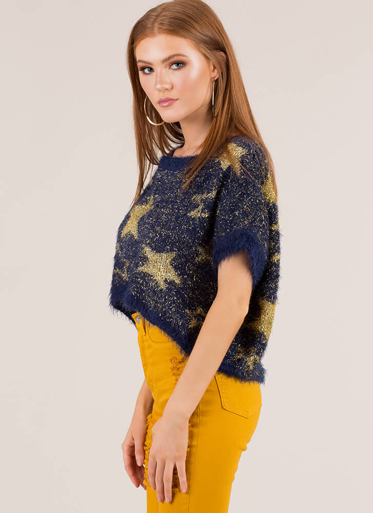 Star-Spangled Sweater Fuzzy Knit Top ROYAL