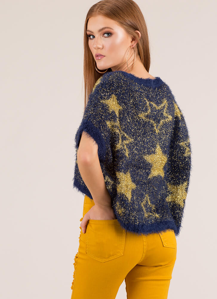 Star-Spangled Sweater Fuzzy Knit Top ROYAL (You Saved $9)