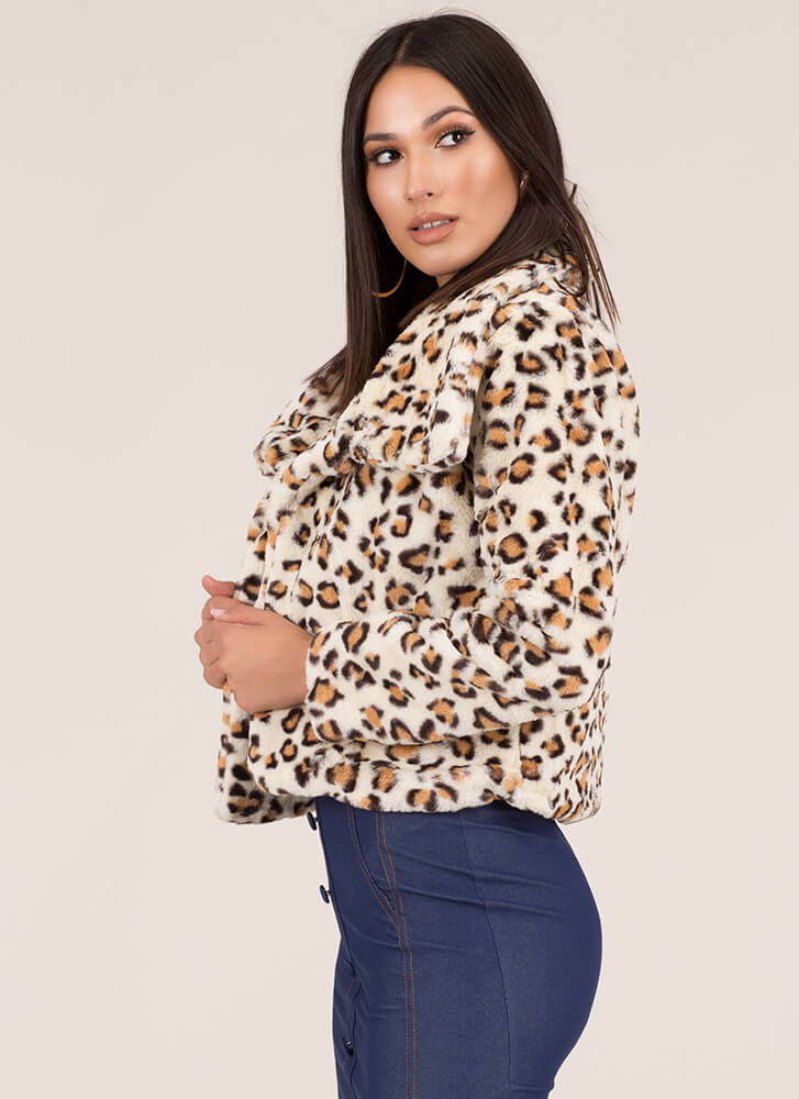 Hot Spots Leopard Faux Fur Coat BEIGE