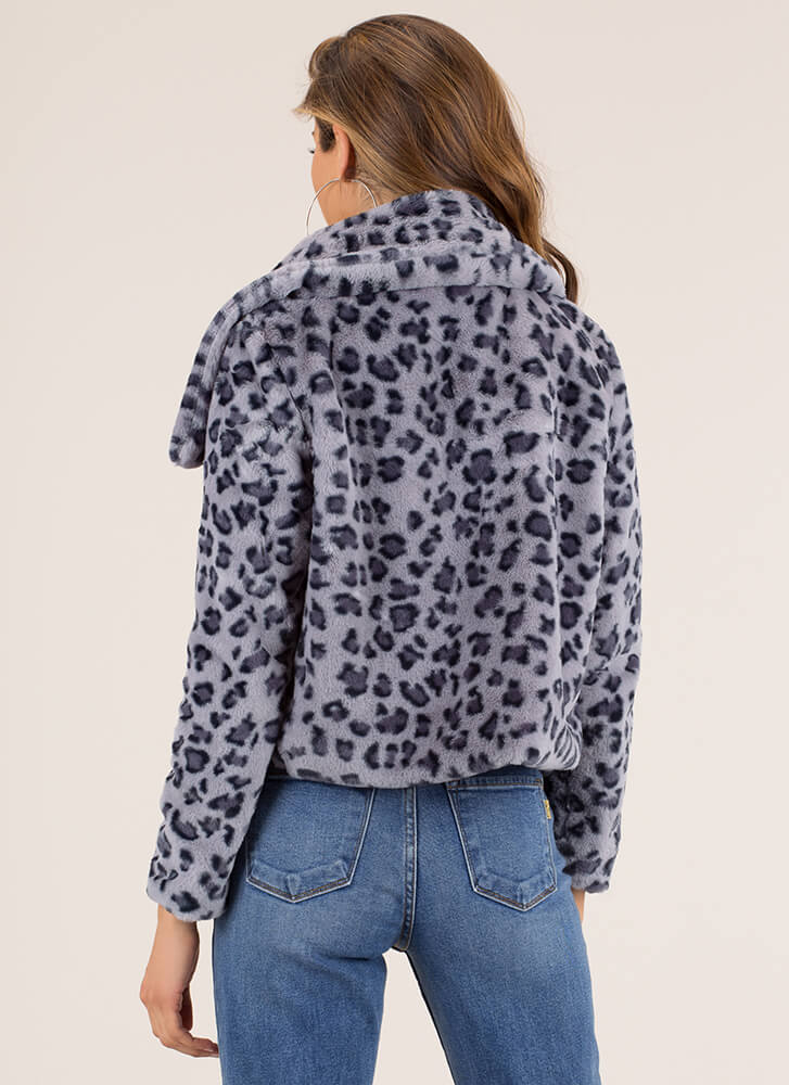 Hot Spots Leopard Faux Fur Coat BLUE