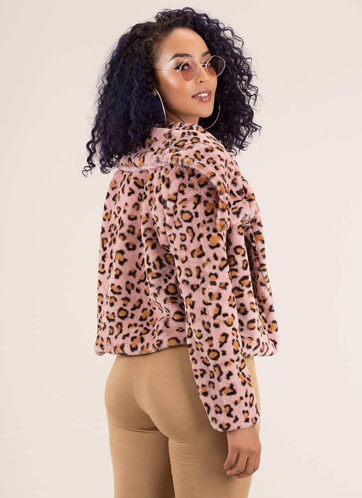 Hot Spots Leopard Faux Fur Coat BLUSH