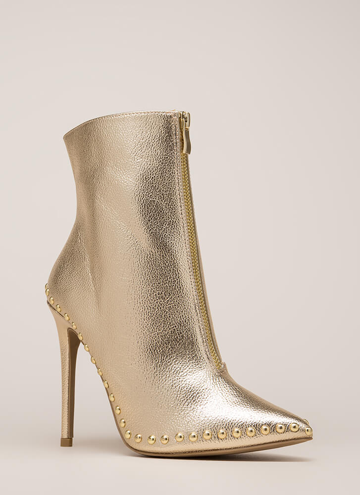 Stunning Studded Pointy Metallic Booties GOLD (Final Sale)