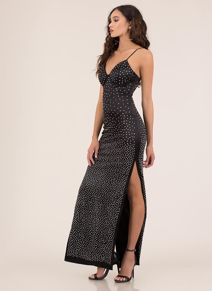 Just Stunning Sparkly Studded Gown BLACK