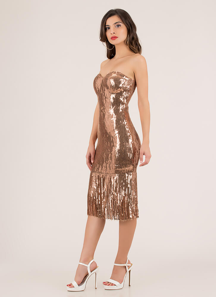 Stun In Sequins Strapless Fringed Dress ROSEGOLD