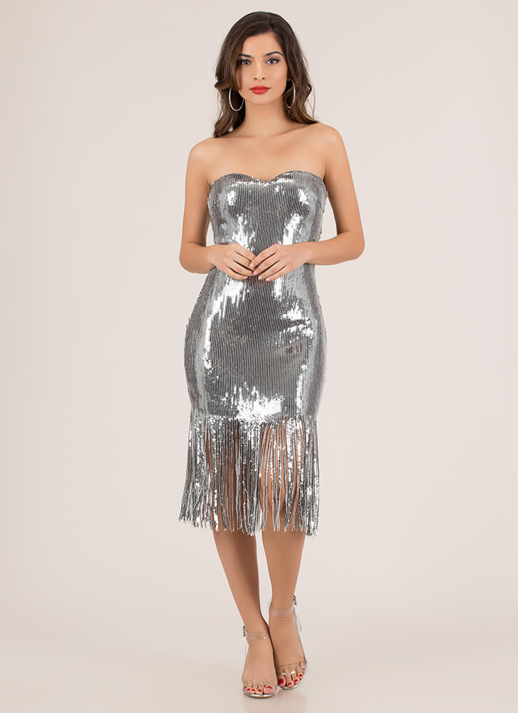 Stun In Sequins Strapless Fringed Dress SILVER
