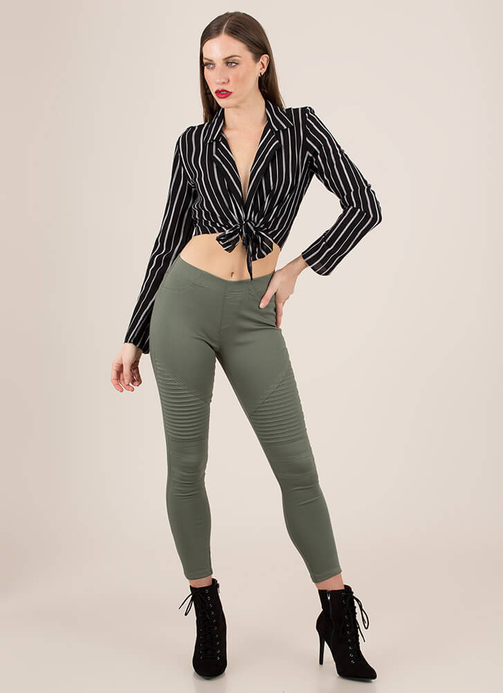 Tie Another Day Pinstriped Crop Top BLACK