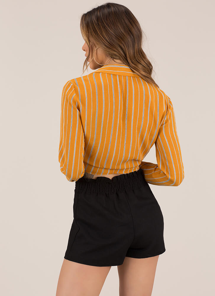 Tie Another Day Pinstriped Crop Top MUSTARD