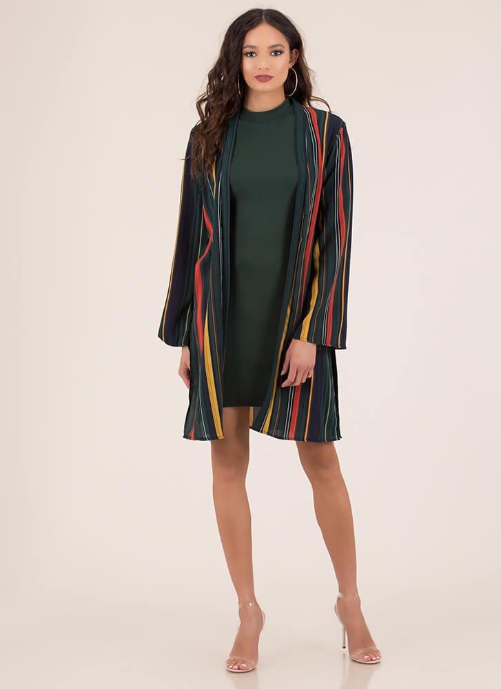 Within These Lines Striped Tied Duster GREEN