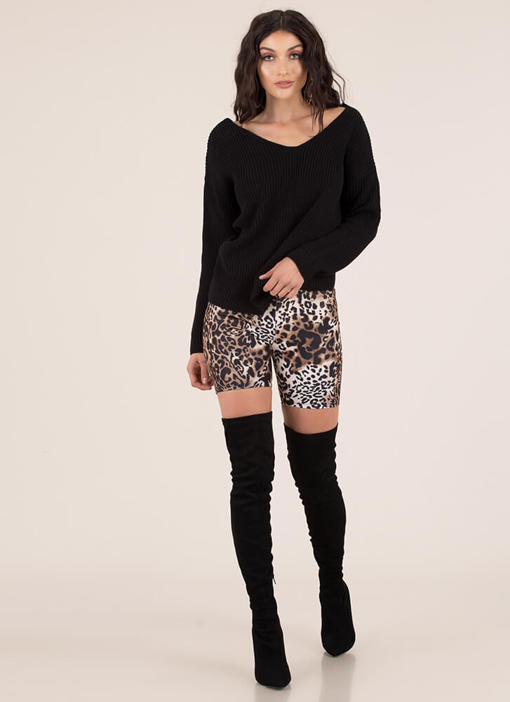 Back With A Twist Knotted Knit Sweater BLACK