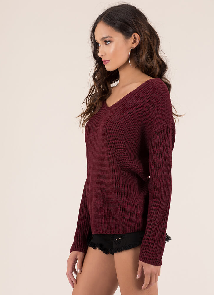 Back With A Twist Knotted Knit Sweater BURGUNDY