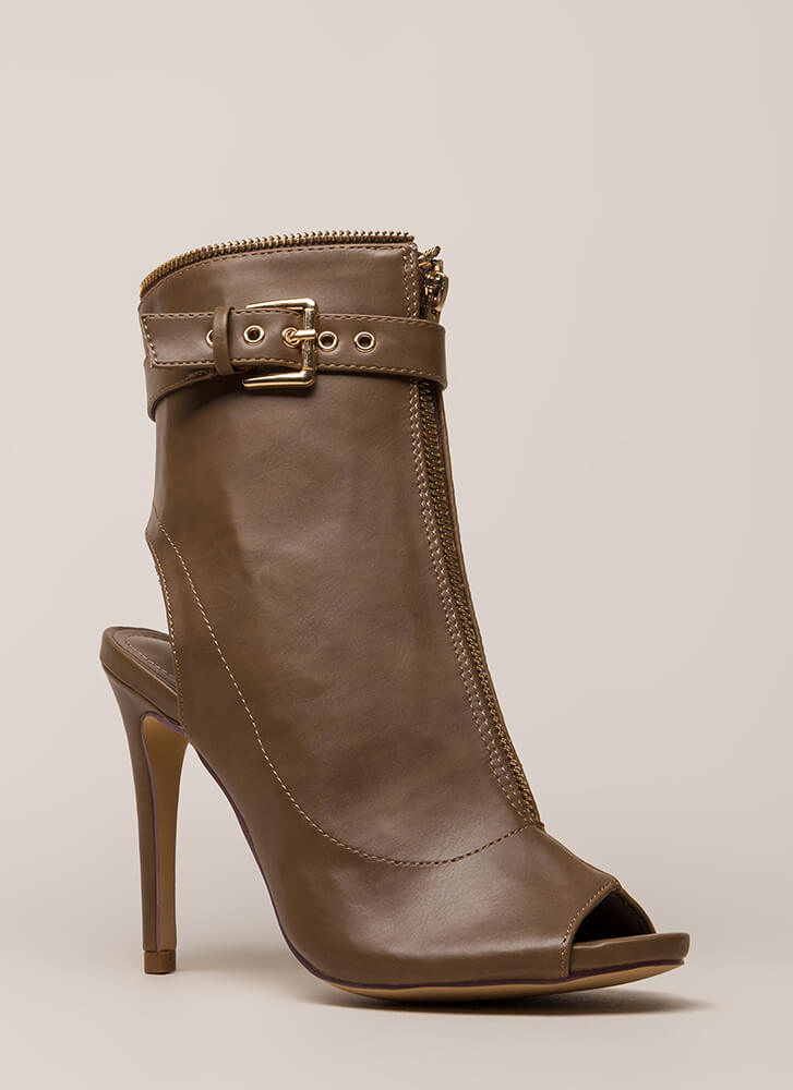 Zip Me Up Strappy Peep-Toe Moto Booties TAUPE