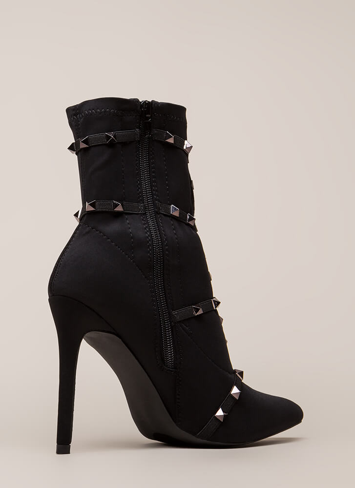 Get The Edge Strappy Studded Booties BLACK