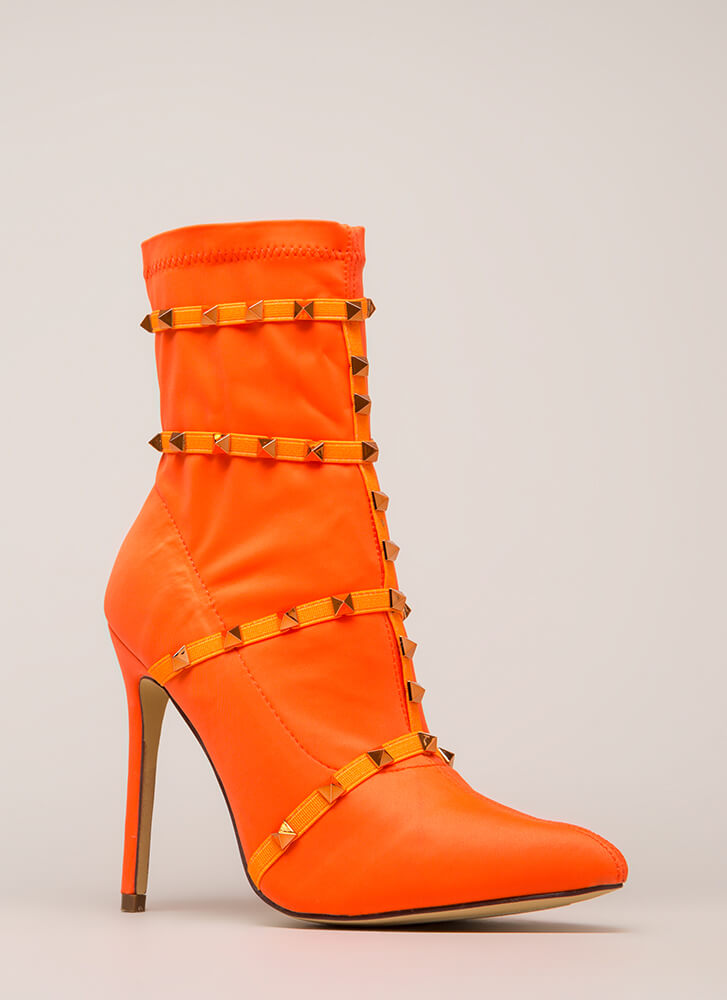 Get The Edge Strappy Studded Booties ORANGE