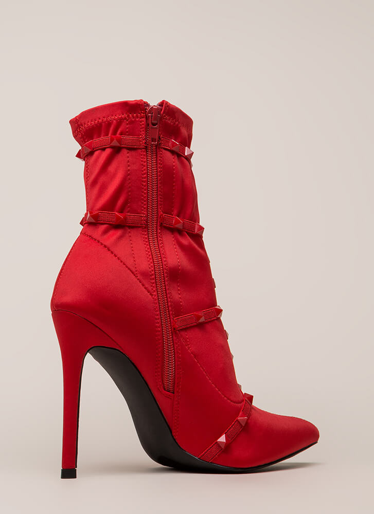 Get The Edge Strappy Studded Booties RED