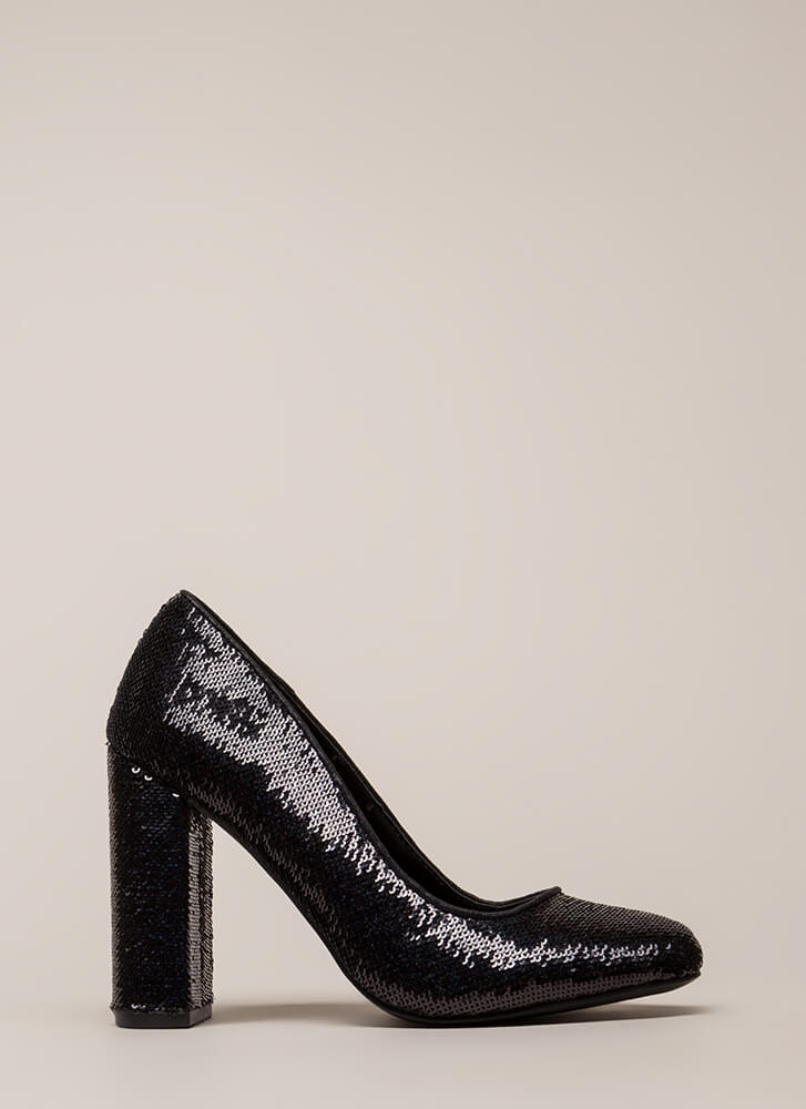 Special Sparkle Chunky Sequined Pumps BLACK