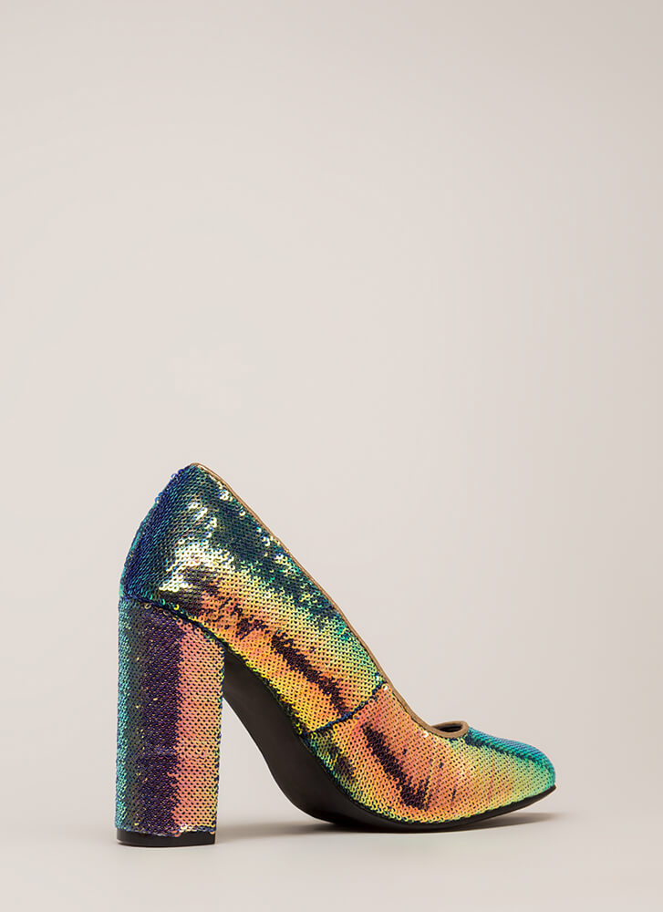 Special Sparkle Chunky Sequined Pumps MULTI