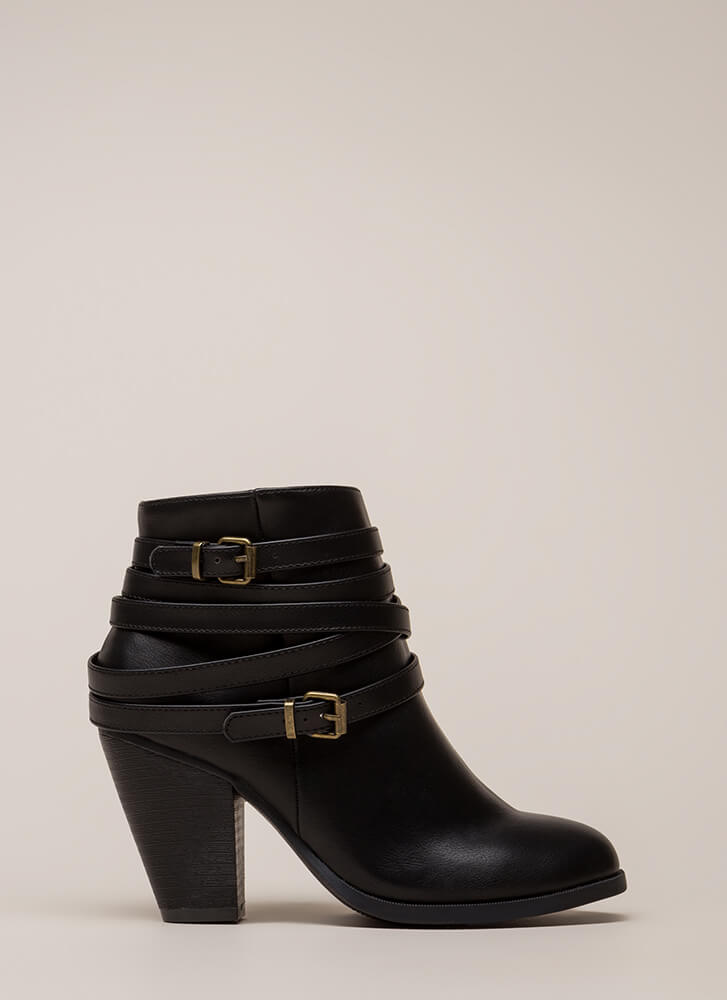 All Wrapped Up Strappy Chunky Booties BLACK