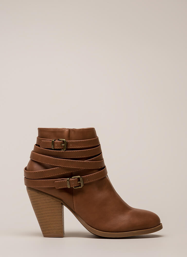 All Wrapped Up Strappy Chunky Booties COGNAC