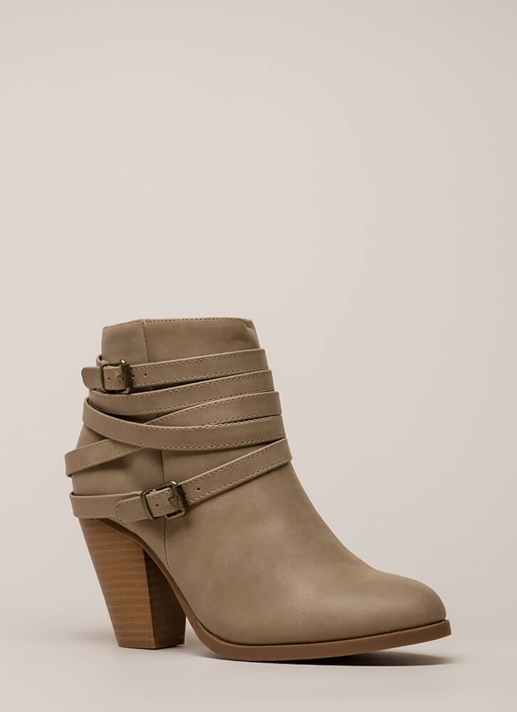 All Wrapped Up Strappy Chunky Booties TAUPE