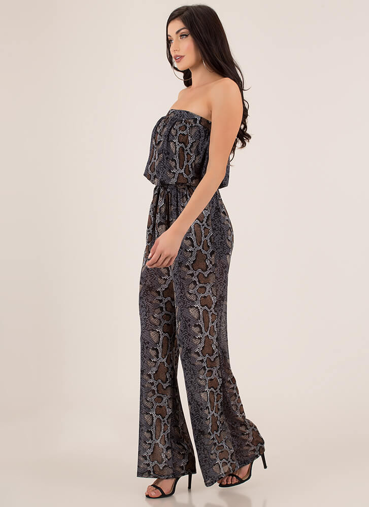 Snake Out Strapless Palazzo Jumpsuit BLACKMULTI
