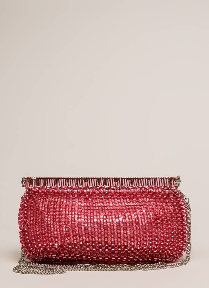 Always In The Loop Woven Clutch PINK