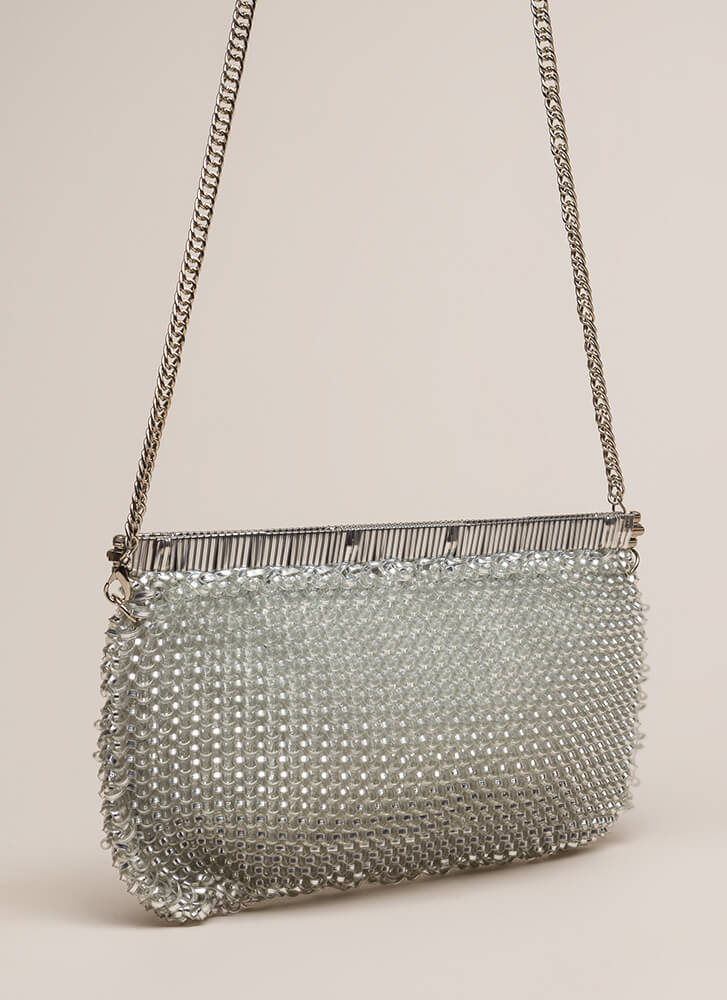 Always In The Loop Woven Clutch SILVER