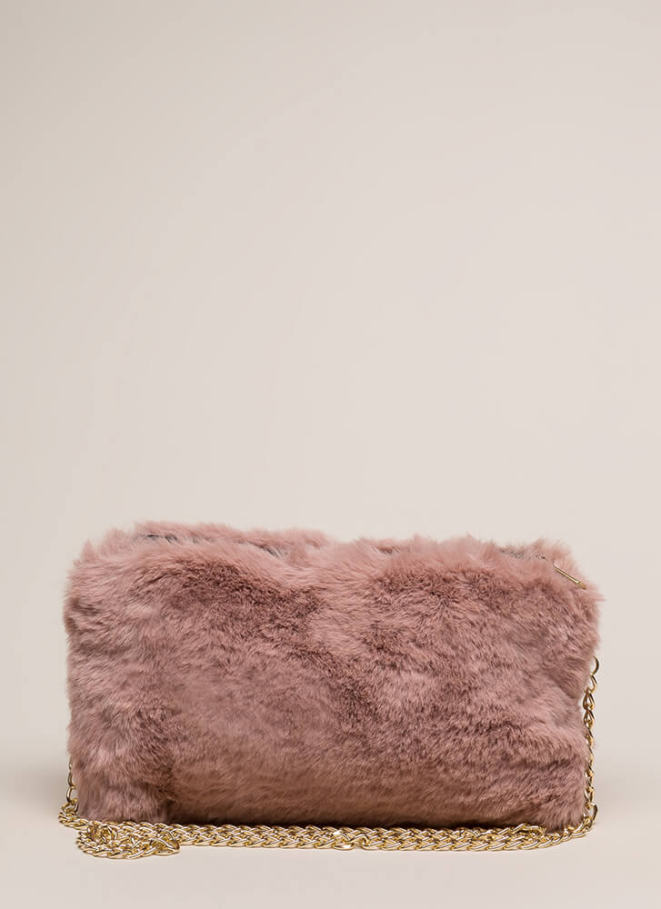Soft Spot Fluffy Faux Fur Clutch PINK