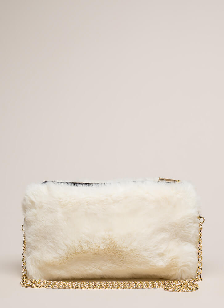Soft Spot Fluffy Faux Fur Clutch WHITE