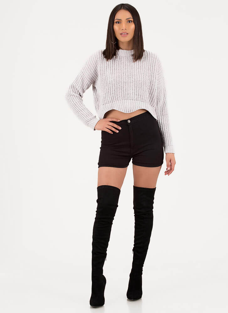 Wave Goodbye Cropped Knit Sweater CLOUD