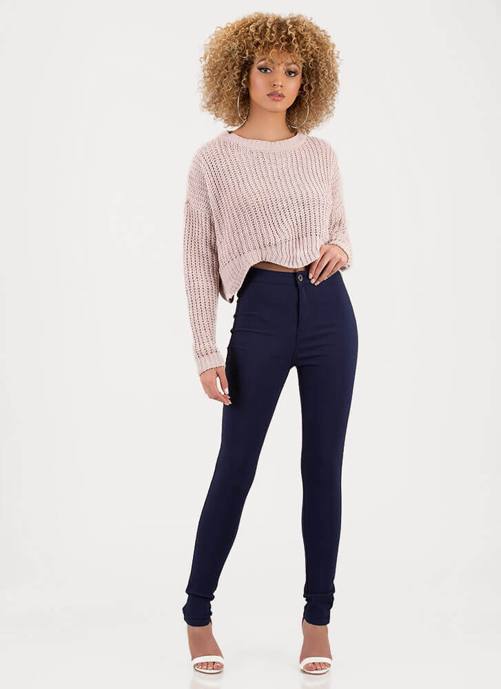 Wave Goodbye Cropped Knit Sweater PALEPINK