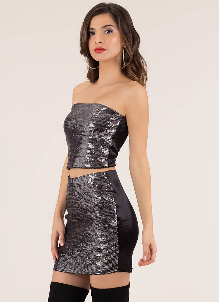 Full Of Sparkle Sequined 2-Piece Dress BLACK
