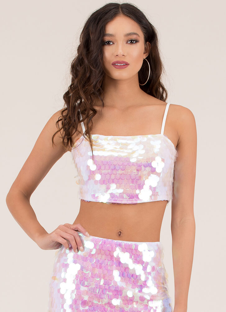 But I'm A Mermaid Sequined Crop Top MULTI