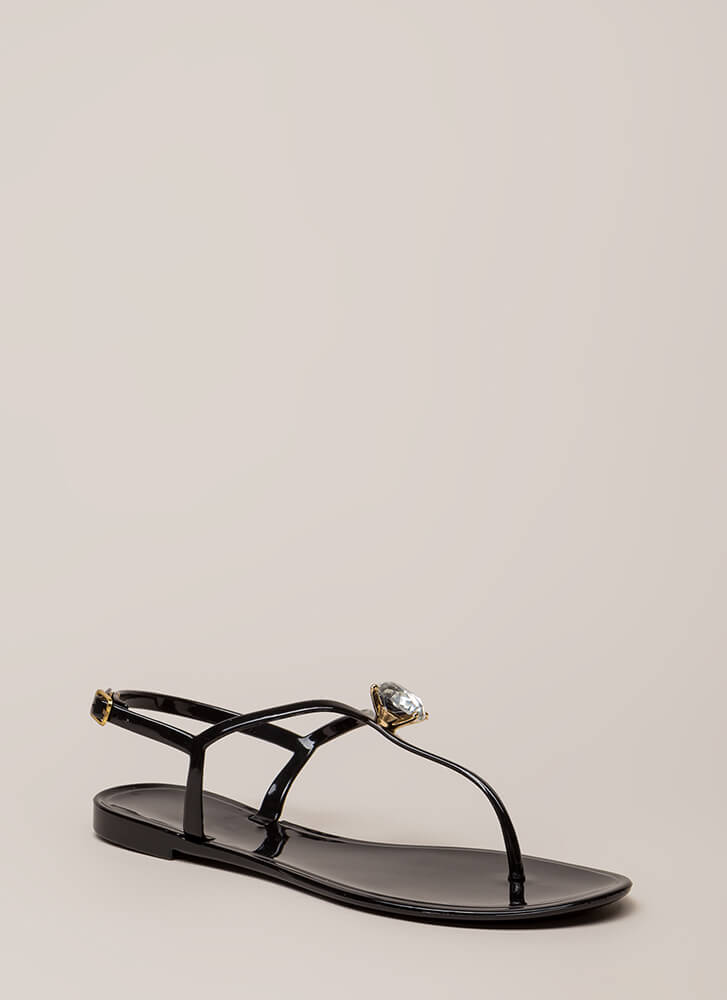 Crown Jewel T-Strap Jelly Sandals BLACK