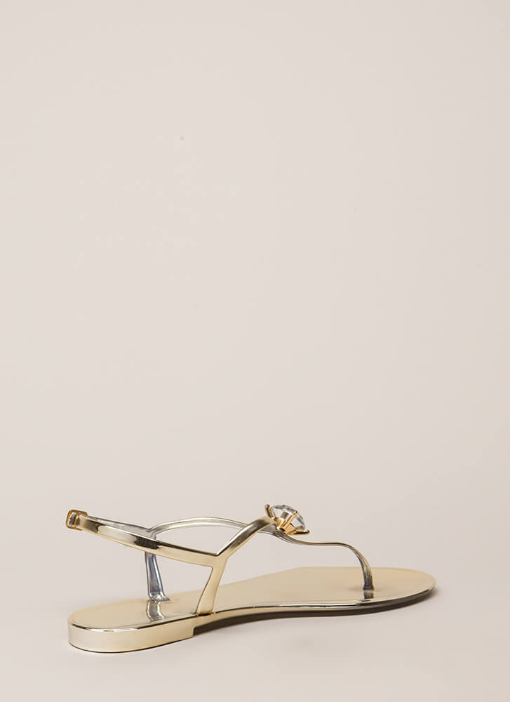 Crown Jewel Metallic Jelly Sandals GOLD