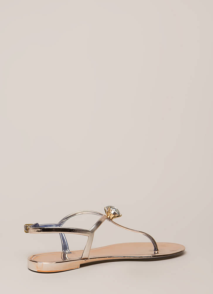 Crown Jewel Metallic Jelly Sandals ROSEGOLD