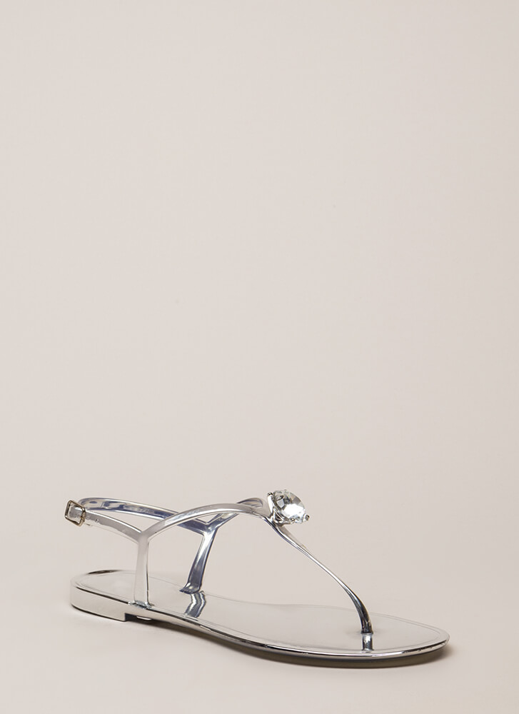 Crown Jewel Metallic Jelly Sandals SILVER