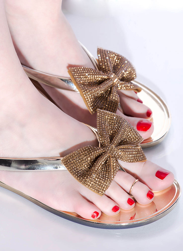 Bow For It Jeweled Jelly Thong Sandals GOLD