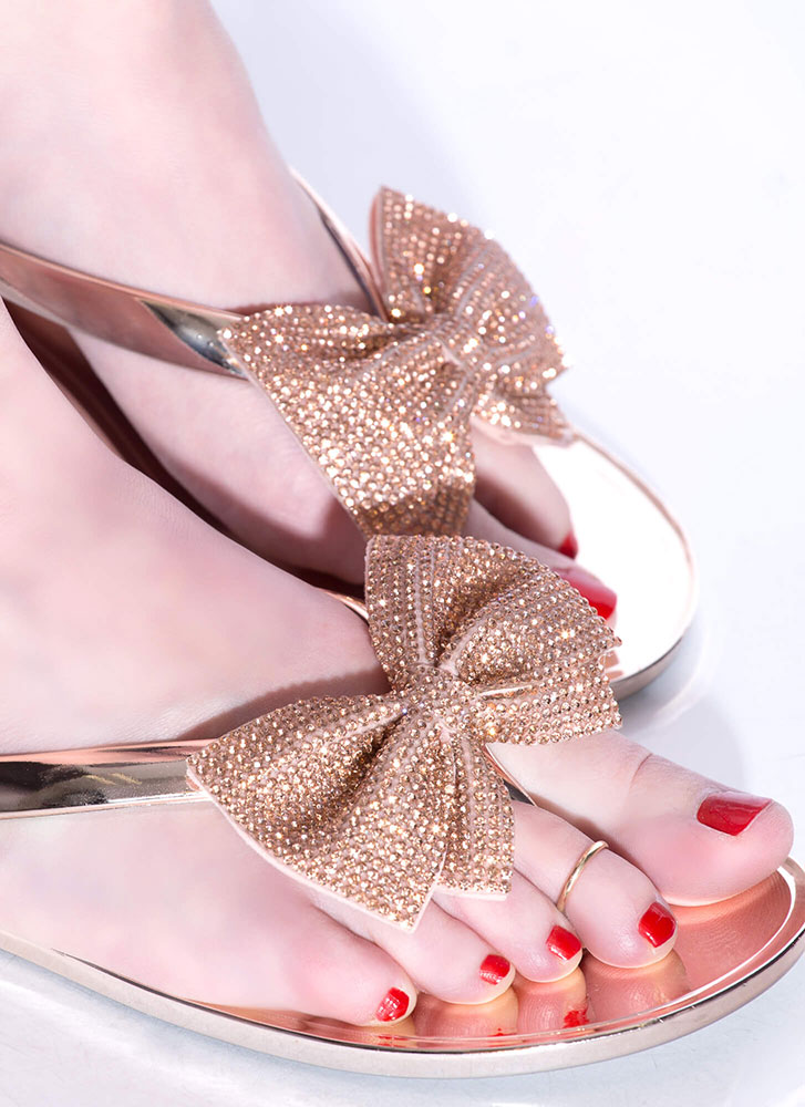 Bow For It Jeweled Jelly Thong Sandals ROSEGOLD