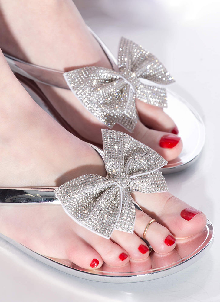 Bow For It Jeweled Jelly Thong Sandals SILVER