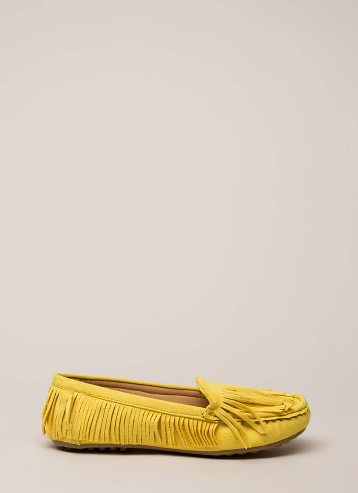 Happy Trails Fringed Moccasin Flats MUSTARD