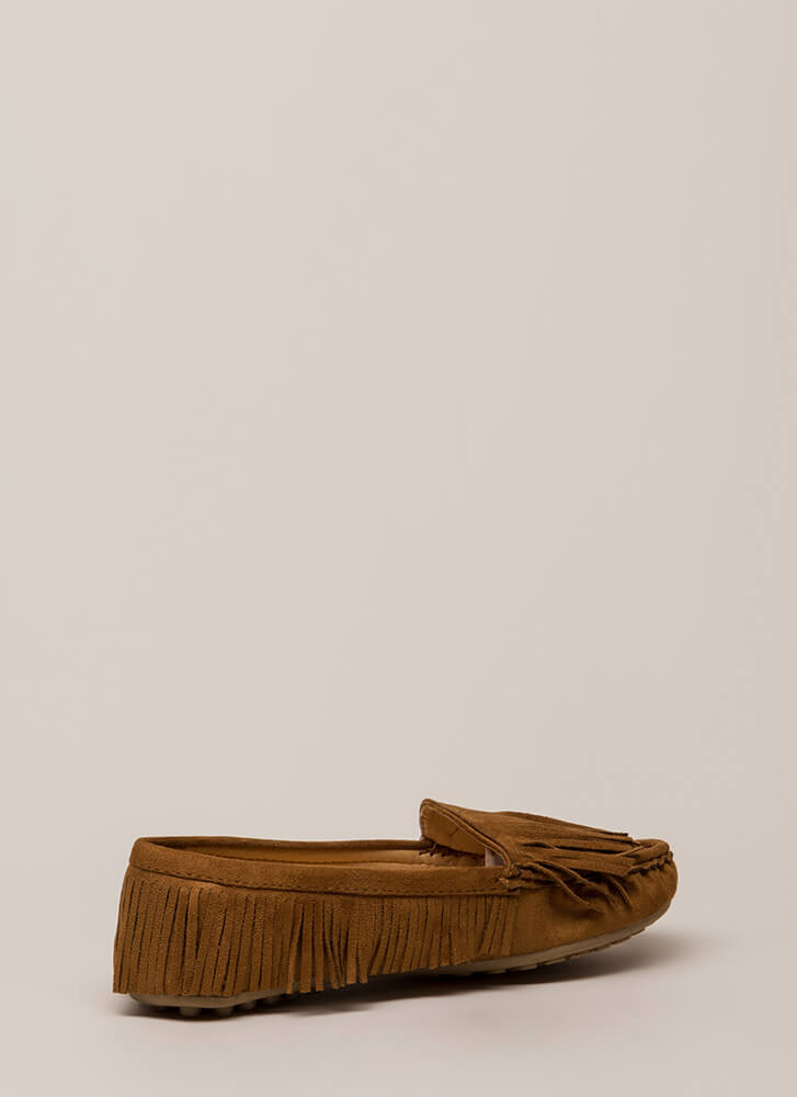 Happy Trails Fringed Moccasin Flats TAUPE
