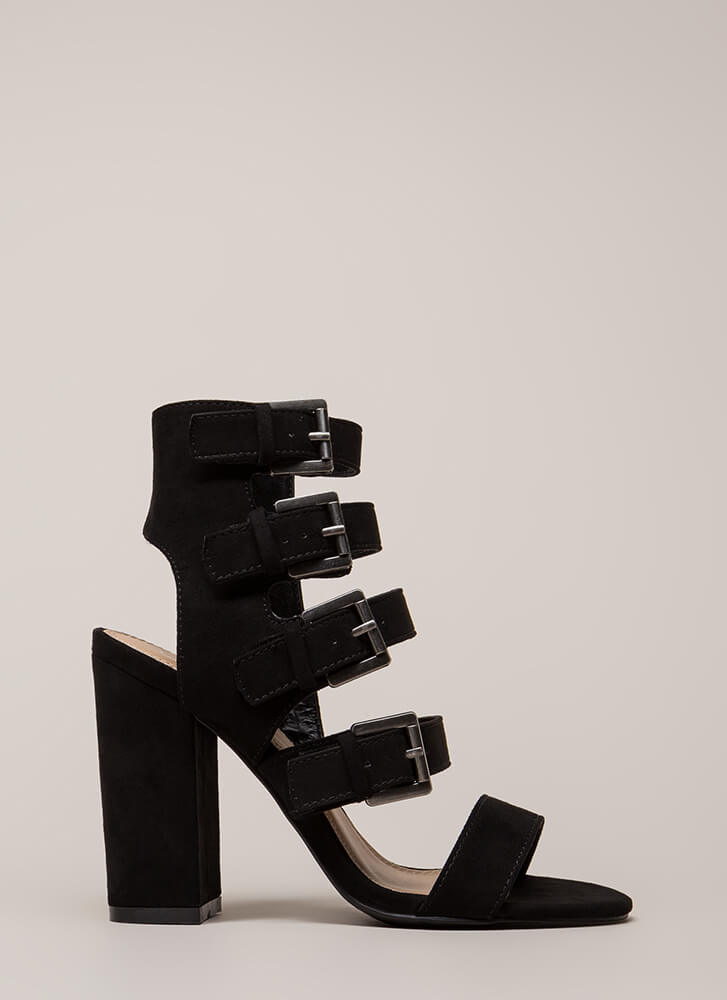 All 4 Me Strappy Buckled Chunky Heels BLACK