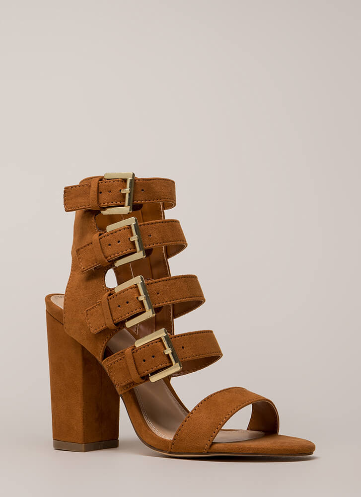 All 4 Me Strappy Buckled Chunky Heels TAN