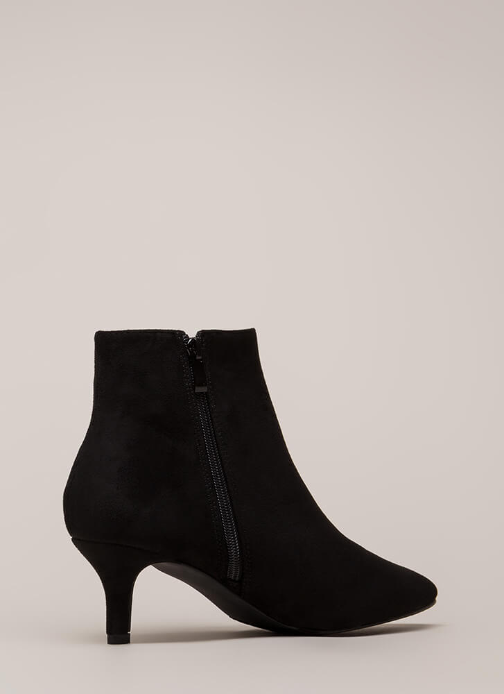 Short Stop Pointy Kitten Heel Booties BLACK