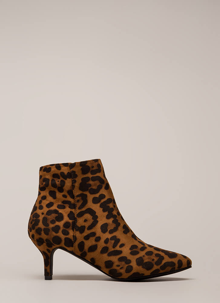 Short Stop Pointy Kitten Heel Booties LEOPARD
