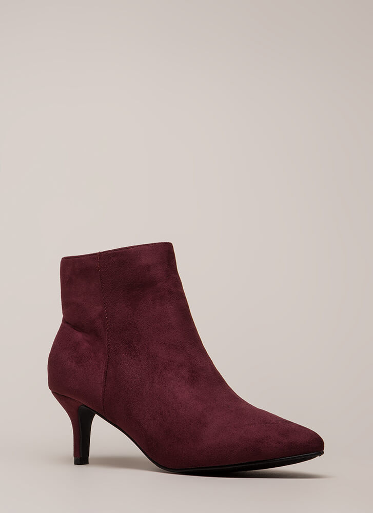 Short Stop Pointy Kitten Heel Booties WINE