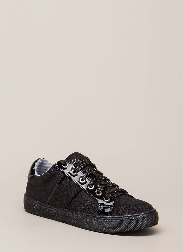 Run Away With Me Glittery Sneakers BLACK