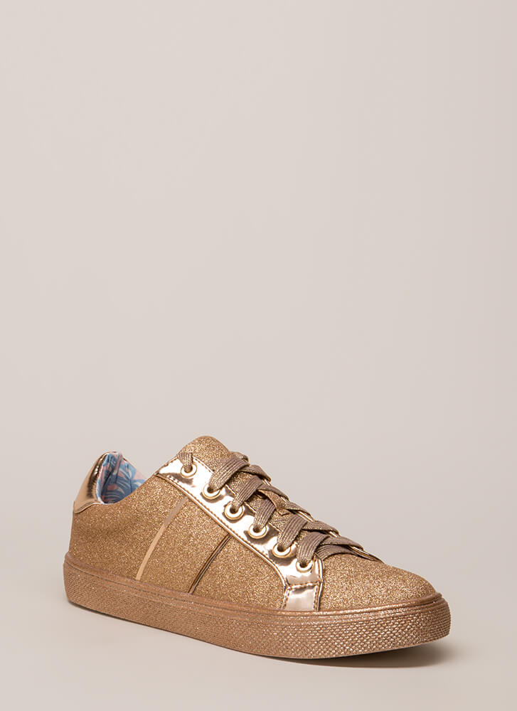 Run Away With Me Glittery Sneakers GOLD