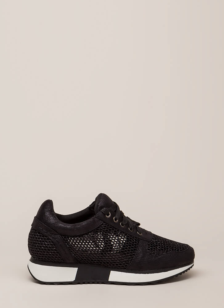 What's The Catch Netted Sneakers BLACK